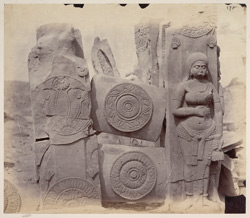 Sculpture pieces excavated from the Stupa at Bharhut: rail pillars and cross-bars from south-west quadrant